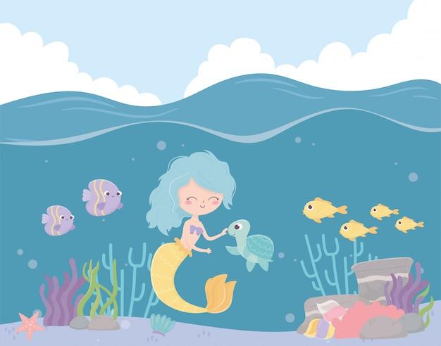 Sirena tortuga peces arrecife coral cartoon bajo el mar ilustración vectorial
