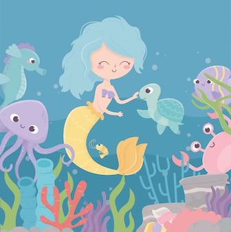 Sirena tortuga pulpo caballito de mar camarones arrecife coral dibujos animados bajo el mar ilustración vectorial