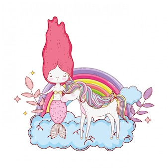 Sirena con unicornio y arcoiris en las nubes.