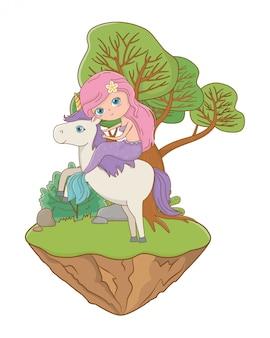 Sirena y unicornio de cuento de hadas.