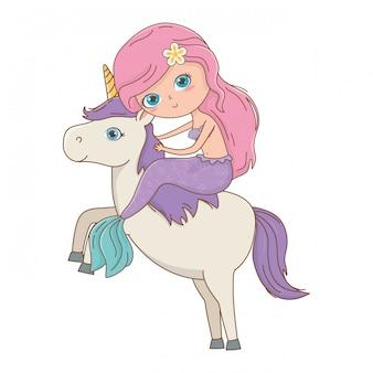 Sirena y unicornio de ilustración de vector de diseño de cuento de hadas