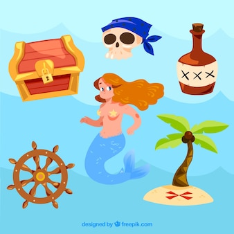 Sirena y elementos piratas