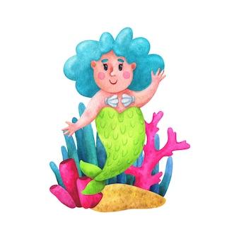 Sirenas con cabello azul composición positiva del cuerpo con ilustraciones en un estilo de dibujos animados