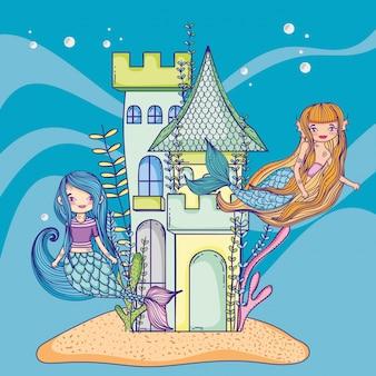 Sirenas y castillo submarino.