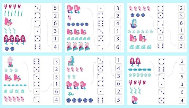 Sirenas hoja de trabajo para la enseñanza de matemáticas y aritmética. para niños en edad preescolar y jardín de infancia. vector, estilo de dibujos animados.