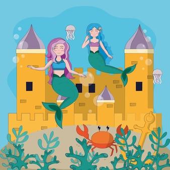 Sirenas bajo el mar en dibujos animados de castillo mágico