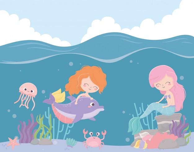 Sirenas medusa cangrejo estrella de mar coral dibujos animados bajo el mar ilustración vectorial