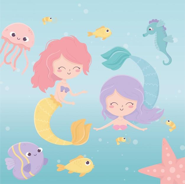 Sirenas medusa pulpo estrella de mar peces camarones dibujos animados bajo el mar ilustración vectorial