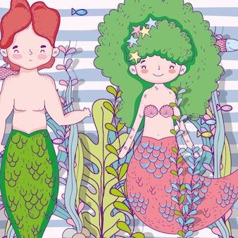 Sirenas mujer y hombre bajo el agua con plantas.