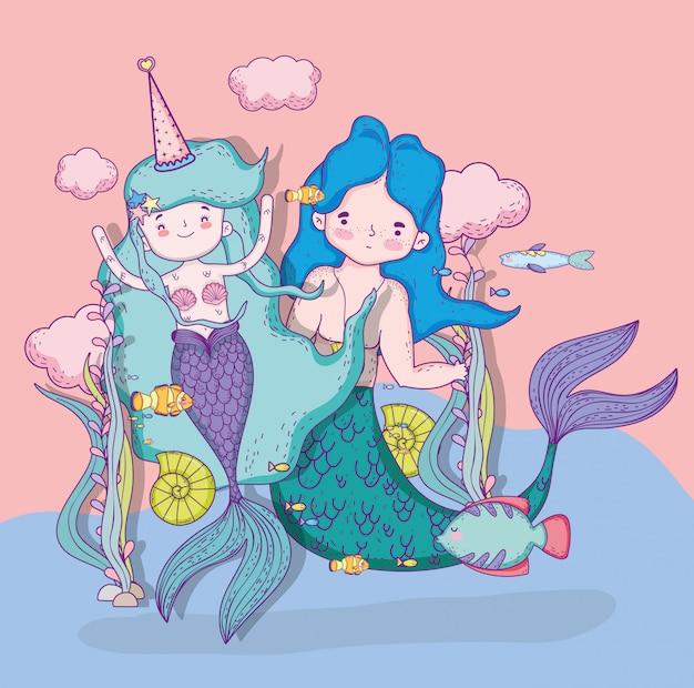 Sirenas mujer y hombre con nubes y peces.