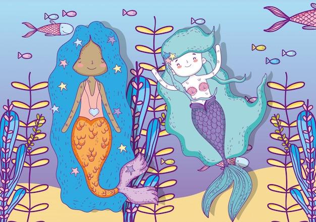 Sirenas mujeres bajo el agua con plantas y peces.