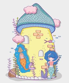 Sirenas mujeres y castillo con nubes y plantas.