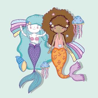 Sirenas mujeres con medusas y conchas bajo el agua.