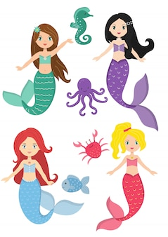 Sirenas princesa y naturaleza acuática.