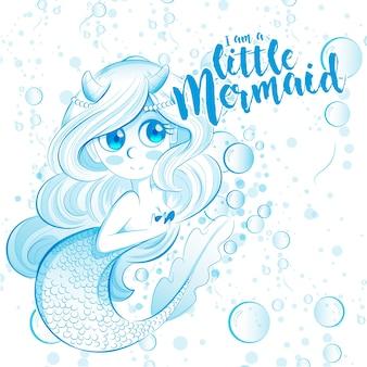 Sirenita azul de dibujos animados