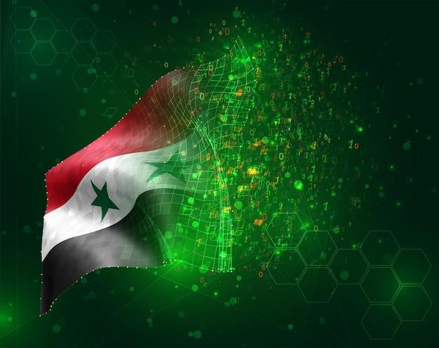 Siria, vector bandera 3d sobre fondo verde con polígonos y números de datos