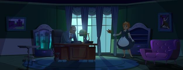 Sirvienta en el gabinete principal joven sirvienta en la habitación