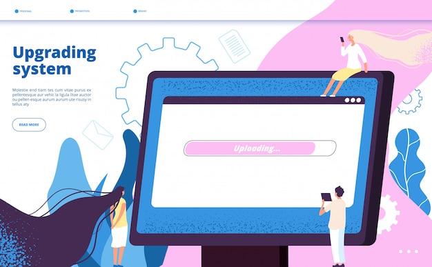 Sistema de actualización. actualización del sitio web de los sistemas actualización de la computadora computadora portátil software mantenimiento de la pc vector