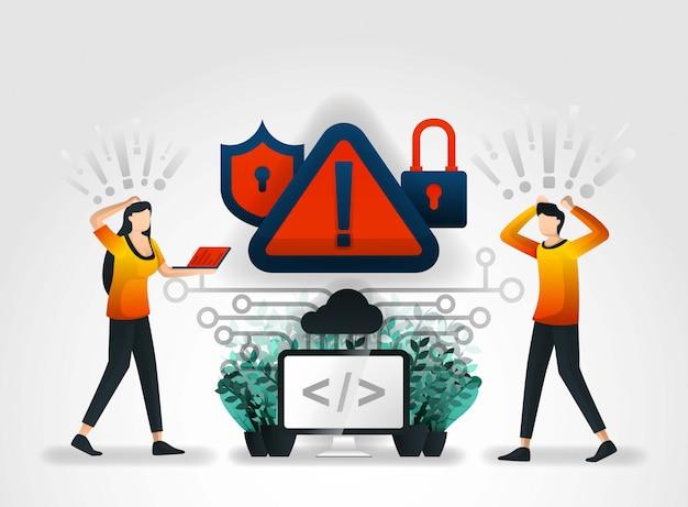 Sistema de advertencia advierte de amenazas de hacking.
