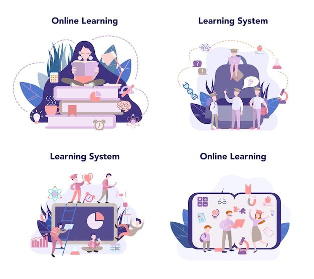 Sistema de aprendizaje, conjunto de educación en línea, idea de estudio a distancia. e-learning y concepto de tecnología moderna. educación en línea usando computadora.