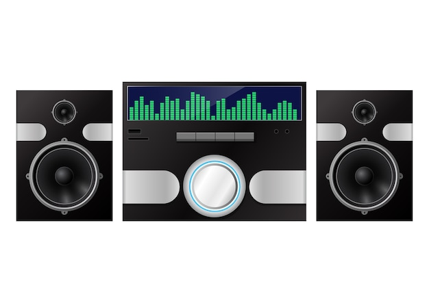 Sistema de audio doméstico aislado en blanco. ilustración