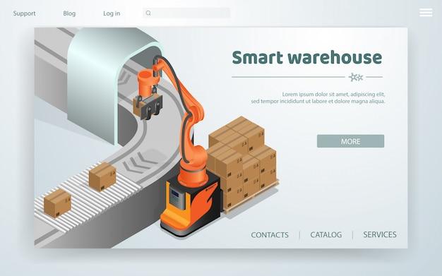 Sistema de automatización de almacén inteligente de banner plano.