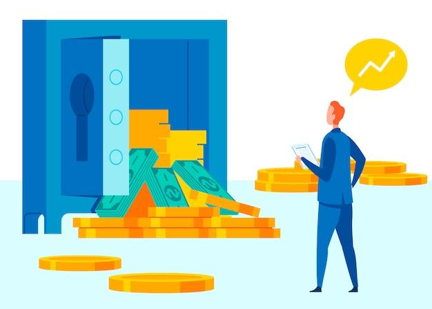 Sistema bancario símbolo ilustración plana