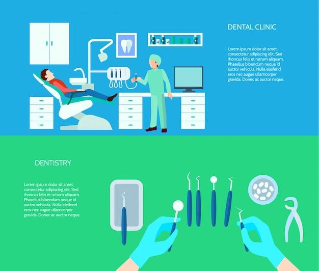 Sistema de banner horizontal de color plano de escena de médico y clínica de herramientas dentales