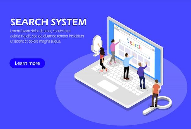 Sistema de búsqueda. concepto con personas y portátil. isométrica
