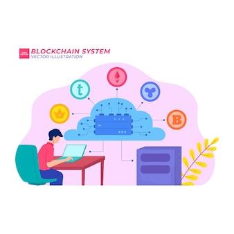 Sistema de cadena de bloques ilustración plana enlace de dinero seguro tecnología fina