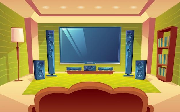 Sistema de cine en casa, audio y video con control remoto dentro de la sala.