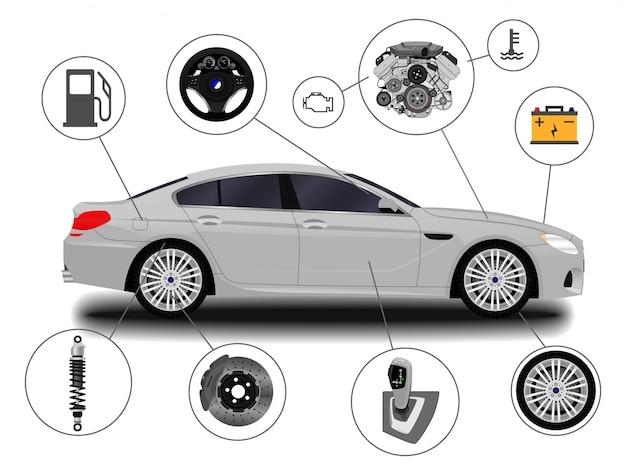 Sistema de coche. piezas de repuesto. coche realista sedán