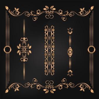 Sistema de la colección de la ilustración del vector del ornamento de la etiqueta