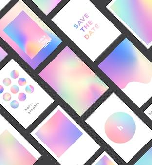 Sistema colorido del diseño del fondo del gradiente holográfico