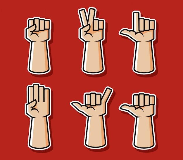Sistema cómico fuerte del ejemplo del vector del gesto de mano del estilo.