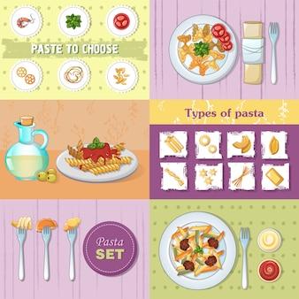 Sistema del concepto de la bandera de la cena de los tallarines de los espaguetis de las pastas de los macarrones