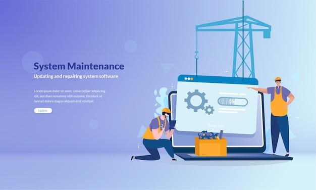 Sistema bajo concepto de banner de mantenimiento