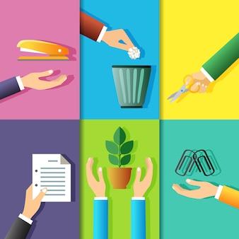 Sistema del ejemplo de los gestos de manos del negocio