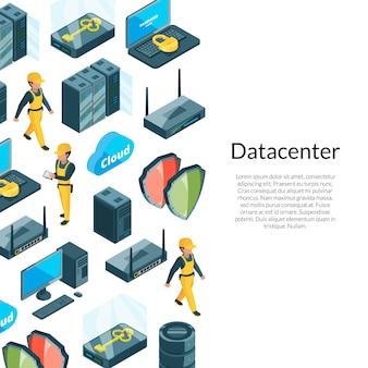 Sistema electrónico de iconos de centro de datos con ilustración