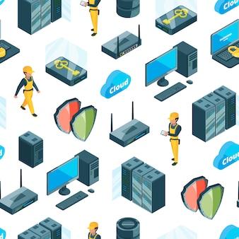 Sistema electrónico de iconos de centro de datos patrón o ilustración