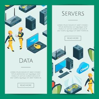 Sistema electrónico de ilustración de plantillas de banner web de iconos de centro de datos