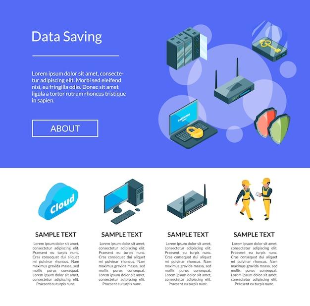 Sistema electrónico de la página de iconos del centro de datos