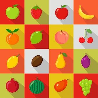 Sistema de fruta en historieta y estilo plano en fondo colorido con la sombra para su diseño.