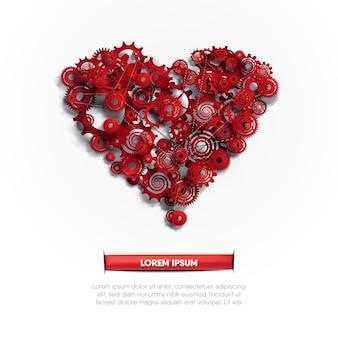 El sistema de función del corazón abstracto, ilustrado por engranajes y engranajes, funciona con cadena.