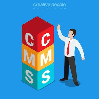Sistema de gestión de contenido cms plano isométrico.