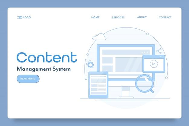 Sistema de gestión de contenido o página de inicio conceptual de blogs