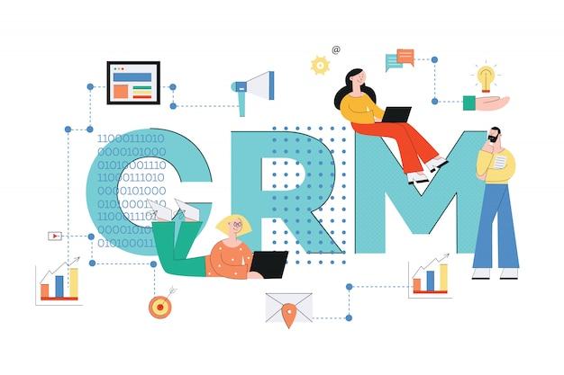 Sistema de gestión de relaciones con el cliente. ilustración de vector de negocio concepto crm con personas e iconos de análisis, servicio y tecnología en estilo plano.