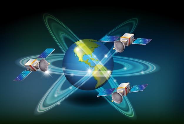 Sistema gps con satélites alrededor de la tierra.