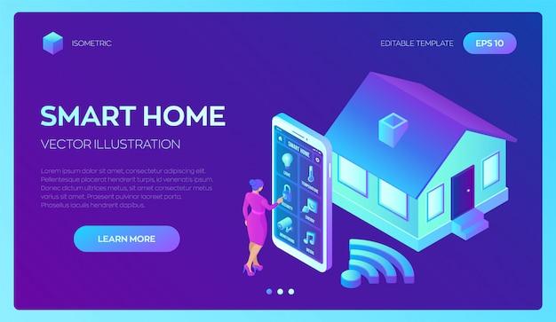 Sistema de hogar inteligente sistema de control remoto isométrico 3d de la casa. iot concepto.