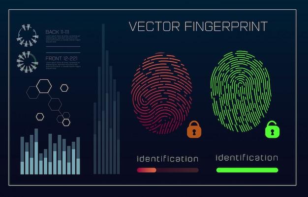 Sistema de identificación de escaneo de huellas dactilares en estilo futurista de hud. interfaz biométrica.